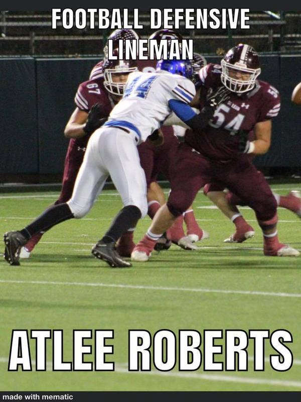 Football Defensive Lineman Atlee Roberts