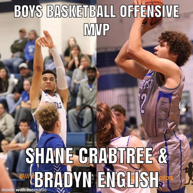Boys Basketball Offensive MVP Shane Crabtree & Bradyn English